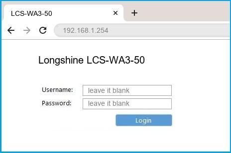 Longshine LCS-WA3-50 router default login