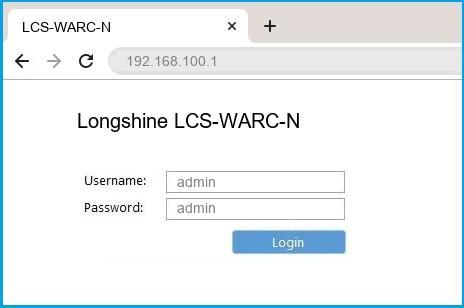 Longshine LCS-WARC-N router default login