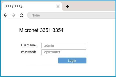 Micronet 3351 3354 router default login