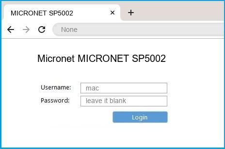 Micronet MICRONET SP5002 router default login