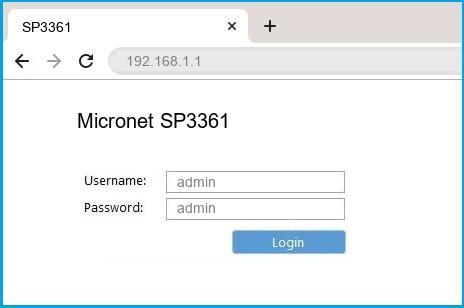 Micronet SP3361 router default login