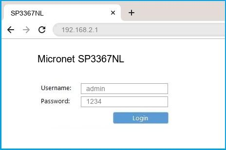 Micronet SP3367NL router default login