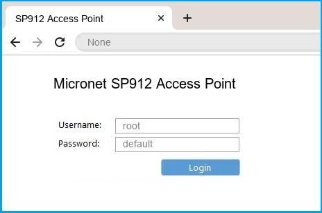 Micronet SP912 Access Point router default login