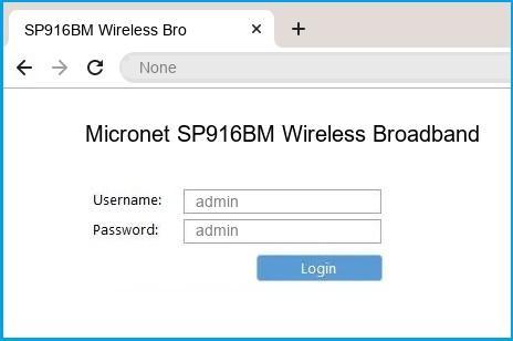 Micronet SP916BM Wireless Broadband Router router default login