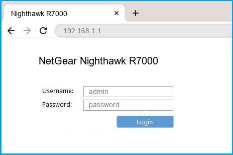 NetGear Nighthawk R7000 router default login