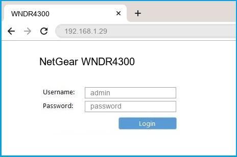 NetGear WNDR4300 router default login