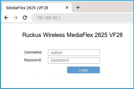 Ruckus Wireless MediaFlex 2825 VF2825 router default login