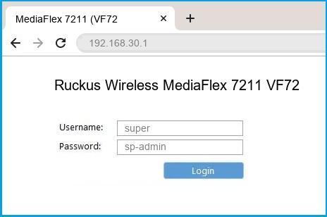 Ruckus Wireless MediaFlex 7211 VF7211 router default login