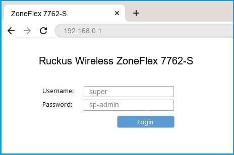 Ruckus Wireless ZoneFlex 7762-S router default login