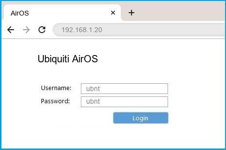 Ubiquiti AirOS router default login