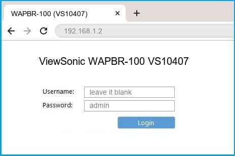 ViewSonic WAPBR-100 VS10407 router default login