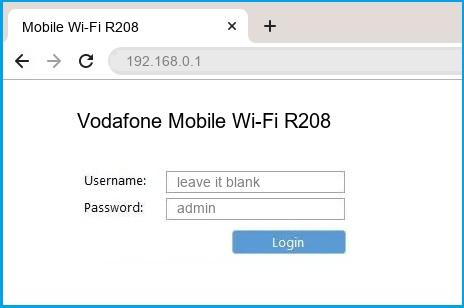 Vodafone Mobile Wi-Fi R208 router default login
