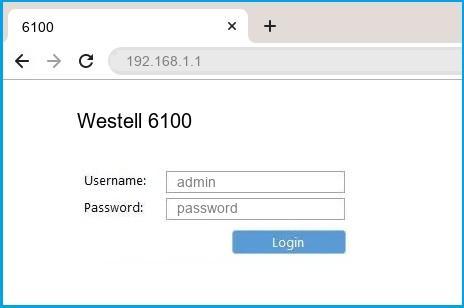 Westell 6100 router default login
