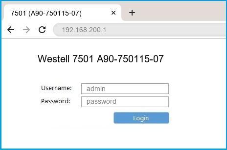 Westell 7501 A90-750115-07 router default login