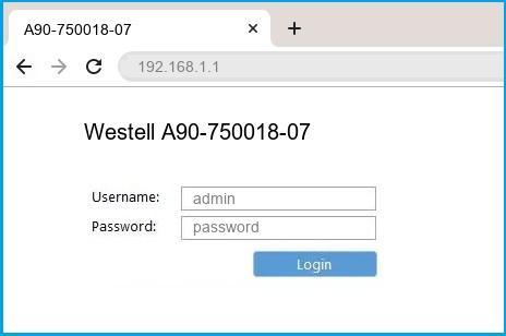 Westell A90-750018-07 router default login