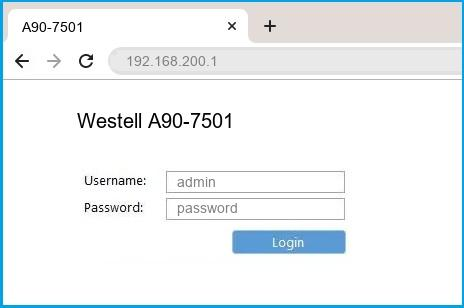 Westell A90-7501 router default login