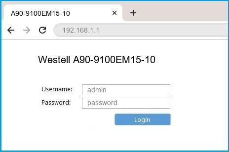 Westell A90-9100EM15-10 router default login