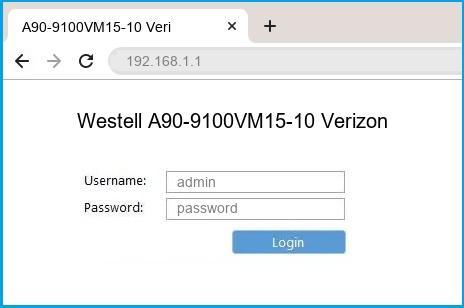 Westell A90-9100VM15-10 Verizon router default login