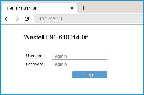 Westell E90-610014-06 router default login