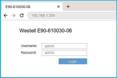 Westell E90-610030-06 router default login