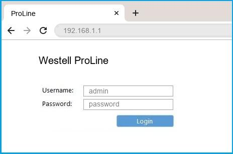 Westell ProLine router default login