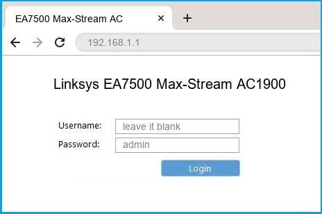 Linksys EA7500 Max-Stream AC1900 router default login